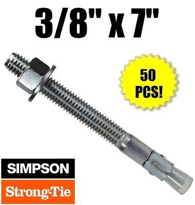 "3//8/"" x 5/"" Concrete Wedge Anchor Zinc Simpson Strong-Tie WA37500 25"