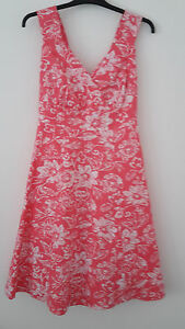 A-lovely-coral-and-white-sundress-Size-12-New-No-Tags