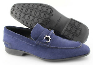 Men-039-s-SALVATORE-FERRAGAMO-039-Cantino-039-Navy-Blue-Suede-Loafers-Size-US-9-5-EE