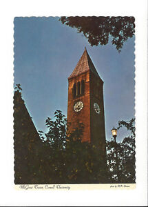 S20-VINTAGE-POSTCARD-McGRAW-BELL-TOWER-CORNELL-UNIVERSITY-CONCERTS-ITHACA-CAYUGA