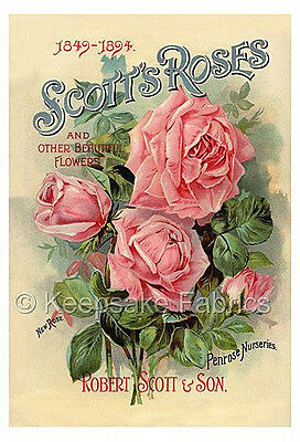 Scott's Seed Packet Pink Roses Quilt Block Multi Sizes FrEE ShiPPinG WoRld WiDE