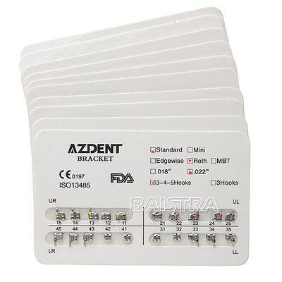 AZDENT 25 X Dental Orthodontics Brackets Braces Standard Roth .022 Hooks 3-4-5