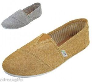 Womens-Fashion-Canvas-Glitter-Metallic-Slip-On-Moccasin-Shoes-5-6-7-8-9-10-11