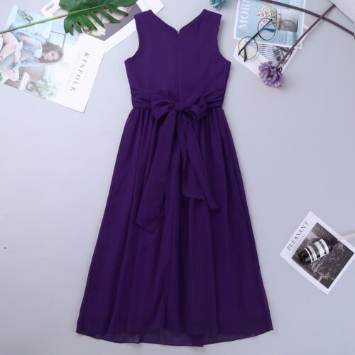 Chiffon Flower Girl Desses Kids Princess V neck Elegant Party Wedding Long Dress