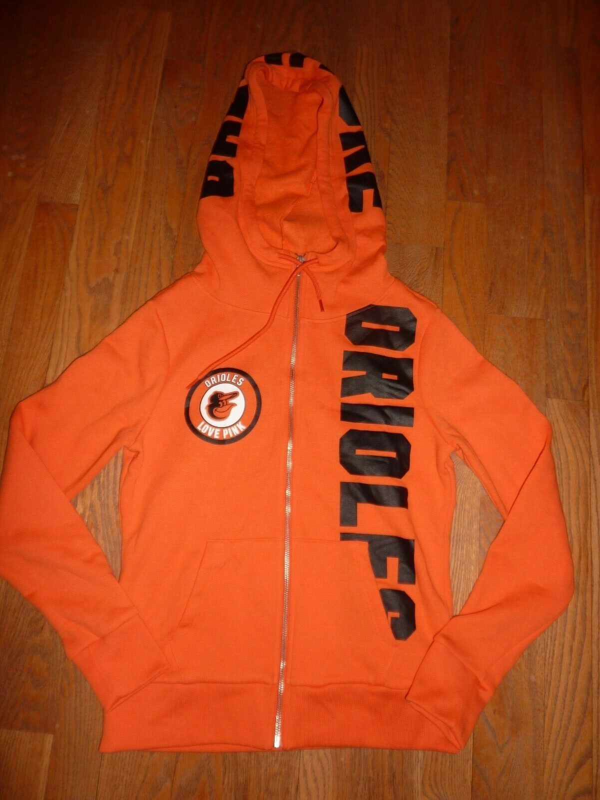 VICTORIAS SECRET PINK RARE MLB BALTIMORE ORIOLES BASEBALL FULL ZIP HOODIE NWT