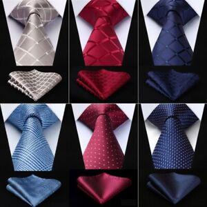 Krawatte-Einstecktuch-Schlips-Hochzeit-Anzug-Business-Herren-Seiden-Tie-Blau-Rot