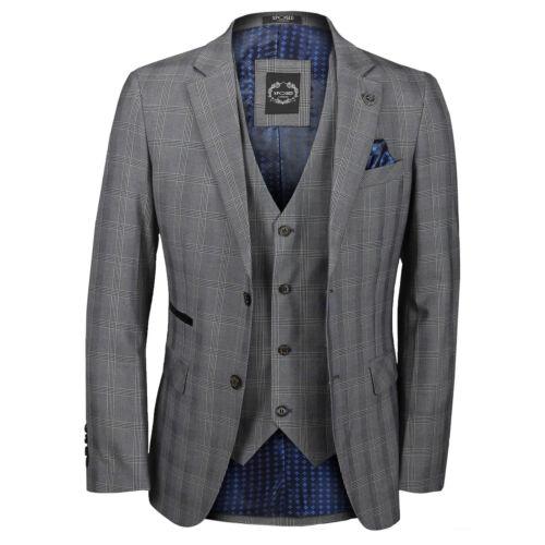 Mens 3 Piece Suit Grey Check Vintage Style Tailored Fit Blazer Waistcoat Trouser