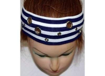 Neu Nieten Stirnband Headband Haarband In Blau/weiß EinheitsgrÖße Clothing, Shoes & Accessories