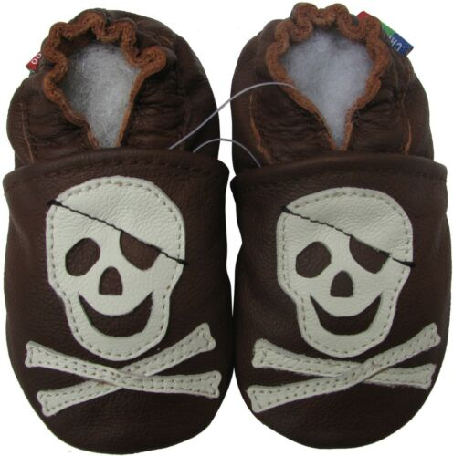 carozoo pirate dark brown 4-5y soft sole leather kids shoes