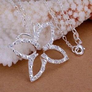 ASAMO-Damen-Halskette-Schmetterling-Anhaenger-925-Sterling-Silber-plattiert-H1013