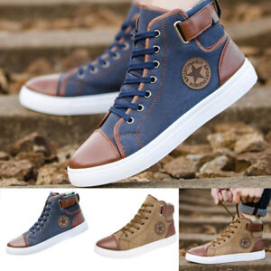 Men-039-s-Women-Causal-Shoes-Lace-Up-Ankle-Boots-Shoes-Casual-High-Top-Canvas-Shoes