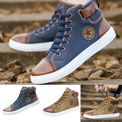 c0ba02aee0 Men's Women Causal Shoes Lace-Up Ankle Boots Shoes Casual High Top ...