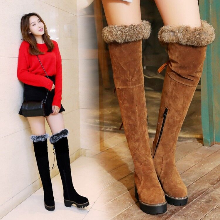 Ladies Over the Knee Boots Chunky Heels Fur Trim Lace Up Side Zip Platform shoes