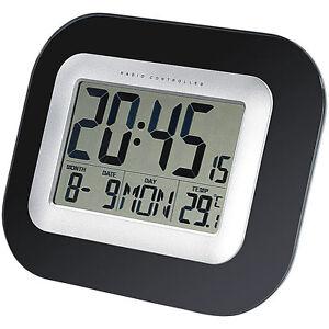 lcd uhr wand tisch funkuhr mit weckfunktion temperatur und datums anzeige ebay. Black Bedroom Furniture Sets. Home Design Ideas