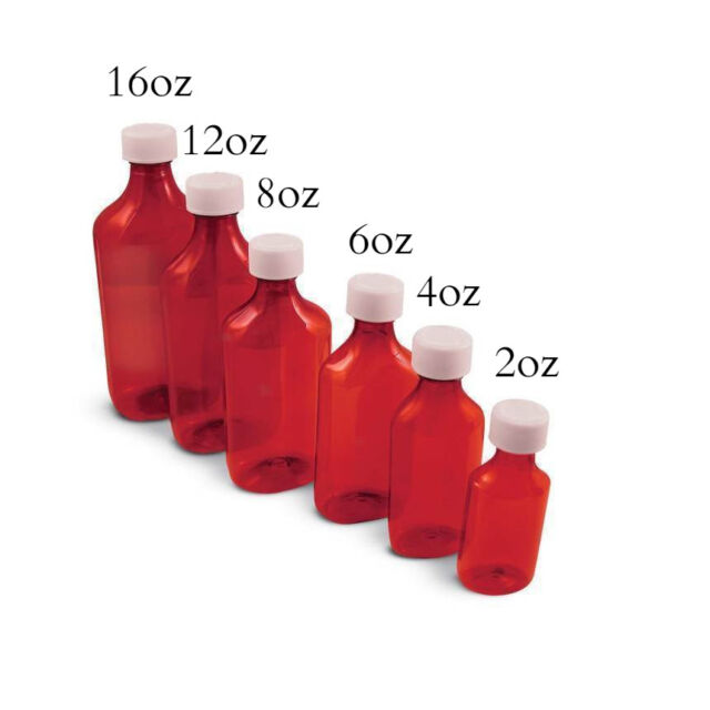 097eaf75b037 2oz Amber Graduated Oval Liquid Medicine Bottles, Plastic w/ Screw Cap,  200/Case
