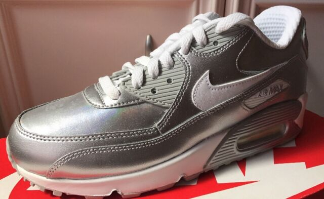 latest exquisite style beauty Nike Air Max 90 Premium Ltr GS 724871-100 Silver Metallic White Youth Size 6