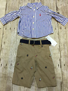 RALPH LAUREN POLO SHIRT NAUTICAL CHINOS COMBO BOYS SIZE 3 MONTHS NEW ... 9684081ed76