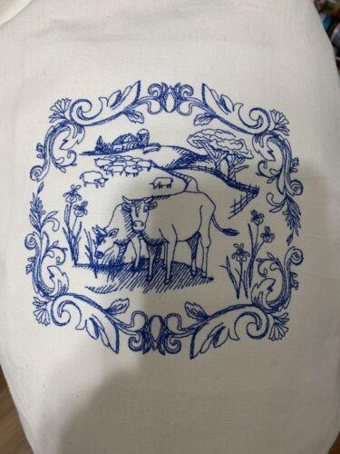 NEW kitchen Tea Towel Embroidered Farmhouse Style COWS