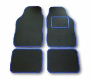 SEAT LEON FR TSi SE ALL YEARS UNIVERSAL CAR FLOOR MATS BLACK WITH BLUE TRIM