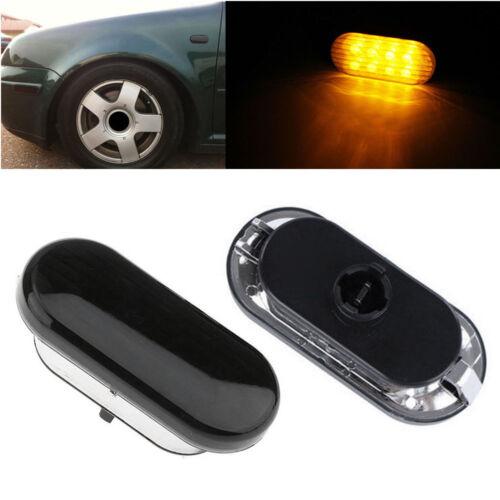 Smoked Lens Amber LED Side Marker Lights For 1999-04 VW MK4 98-04 B5 B5.5 Passat