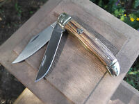 E.c.simmons Cutlery Co. 4 Closed Saddlehorn/trapper Zebra Wood Handle 44a S.s.