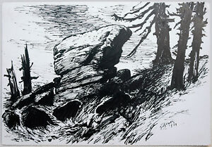 Paul-Gross-1873-1942-Felsenklippen-Gipfel-Harz-Tusche-Zeichnung-1932-neusachlich