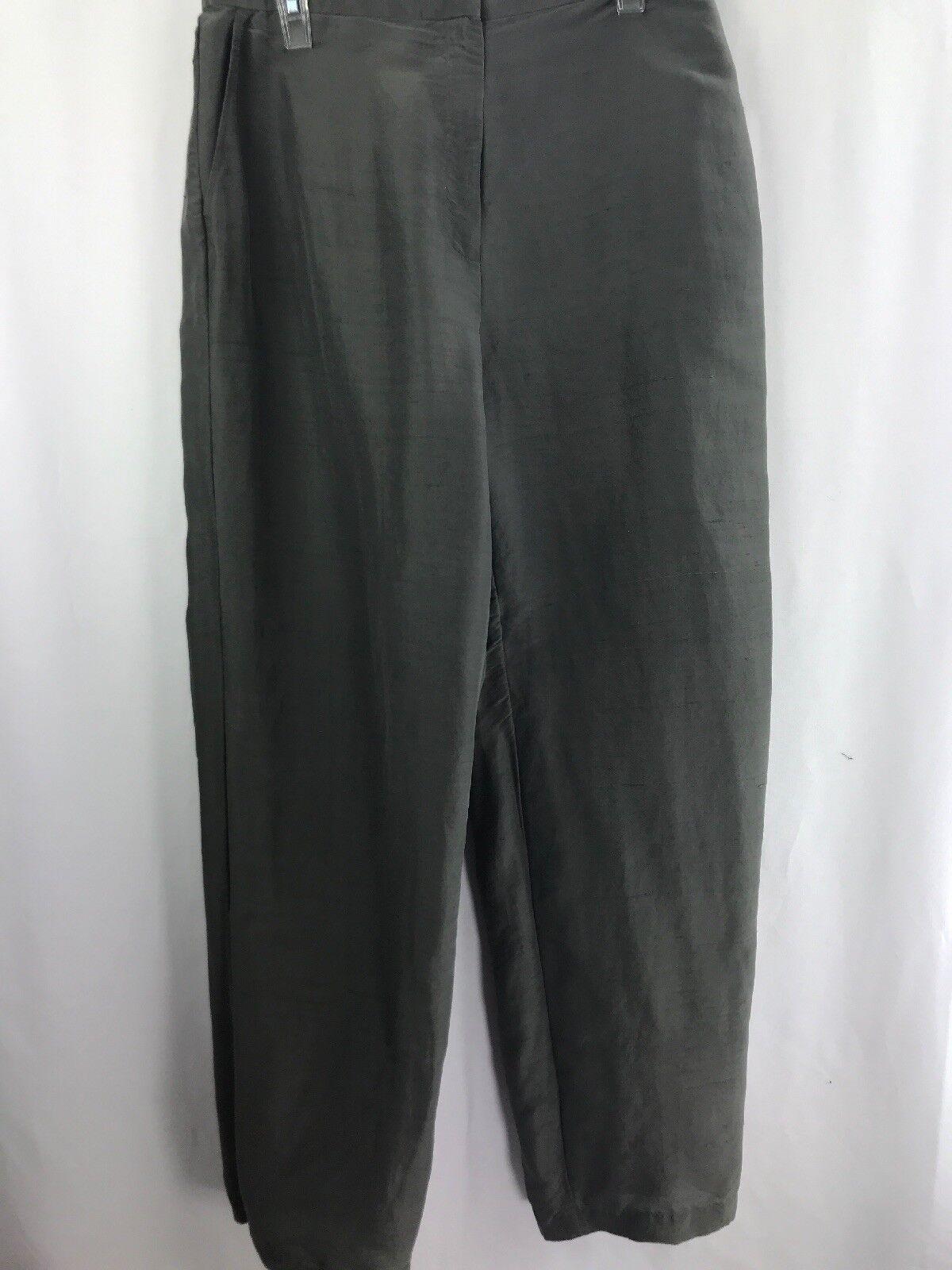 Eileen Fisher Women's Olive Green Business Casual Pants 100% Silk Sz L