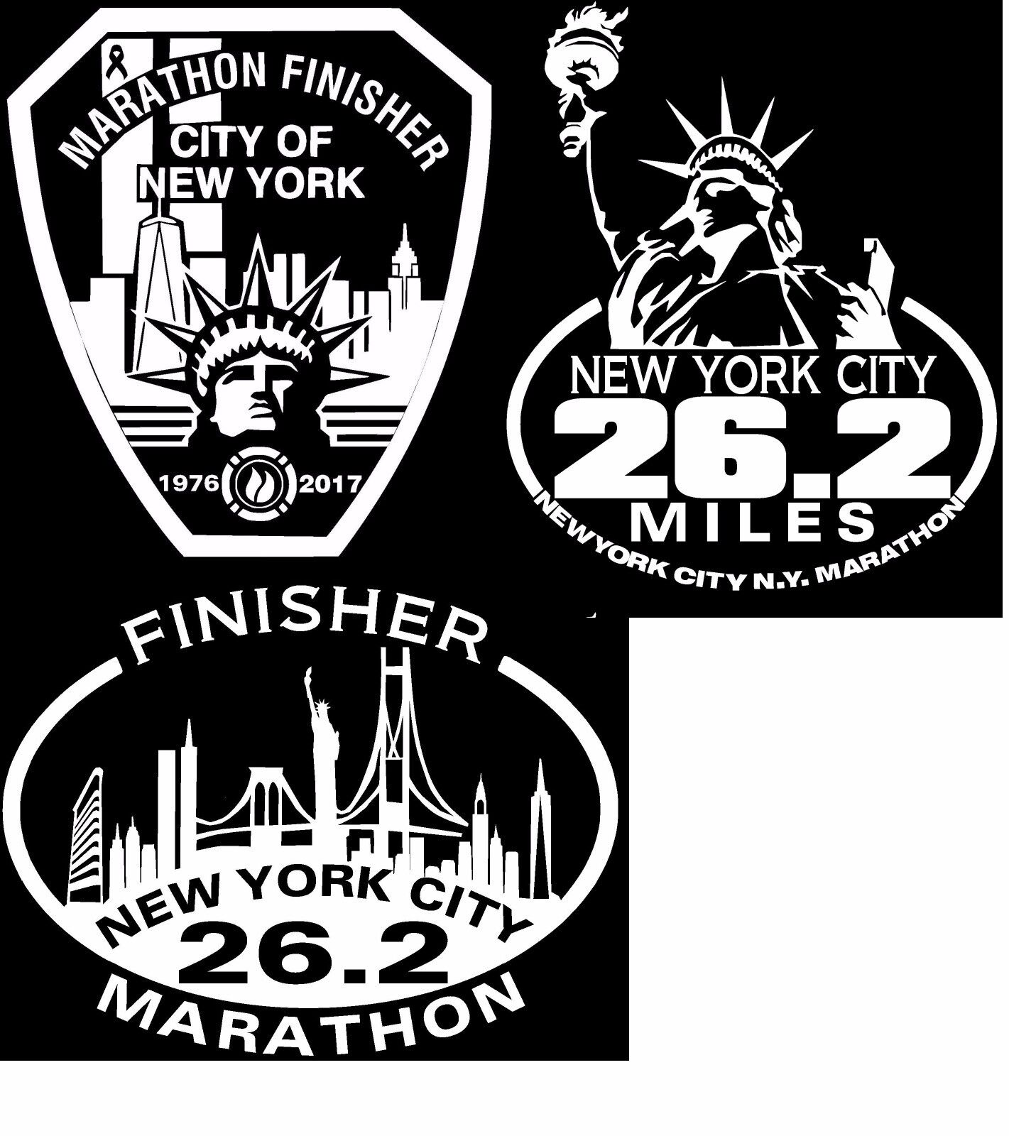 3x NYC Marathon SKYLINEDecals 1x NYC Liberty Decal 3x NYC FDNY  Decals