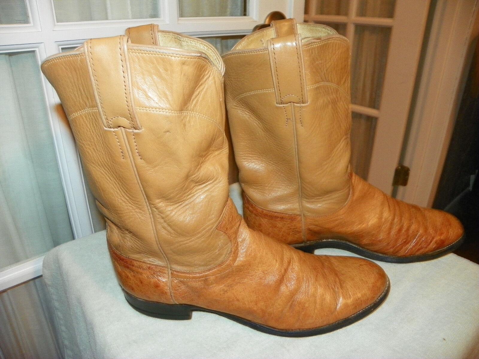 Justin 3022 Uomo Smooth Ostrich Roper Cowboy Western Stivali size 8.5 B narrow USA