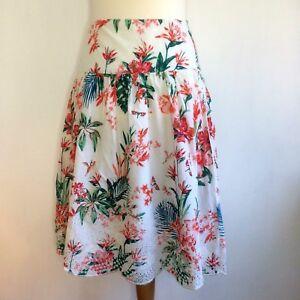 e4f25c4ff3 Monsoon Skirt Size 12 Floral White Green Orange Lined 28