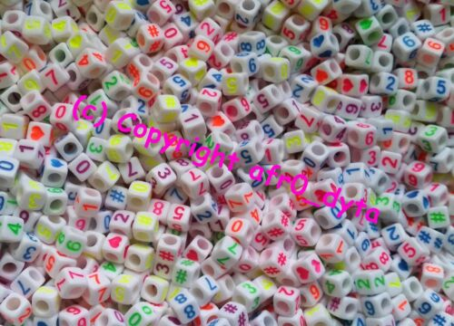 100 to 1000 White /& Coloured Mixed Number Cube Beads 6mm For Jewellery Making