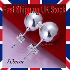 adies 925 Silver Ball Pearl Stud Earrings 10mm Round Butterfly Back Gift Bag