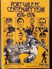 Port Vale FC (Centenary Yr) Vs York City Football Programme Div 3 Mon 7 Feb 1977