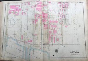 ORIGINAL 1925 BRIDESBURG, PHILADELPHIA, PA, DELAWARE RIVER, PLAT ATLAS MAP