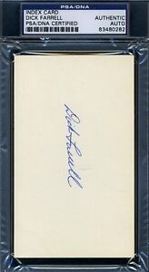 Dick Turk Farrell Psa/dna Certified Signed 3x5 Index Card Autograph Authentic