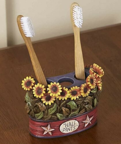 Toothbrush Holder Country Rustic Primitive Star Sunflower Bathroom Home Decor
