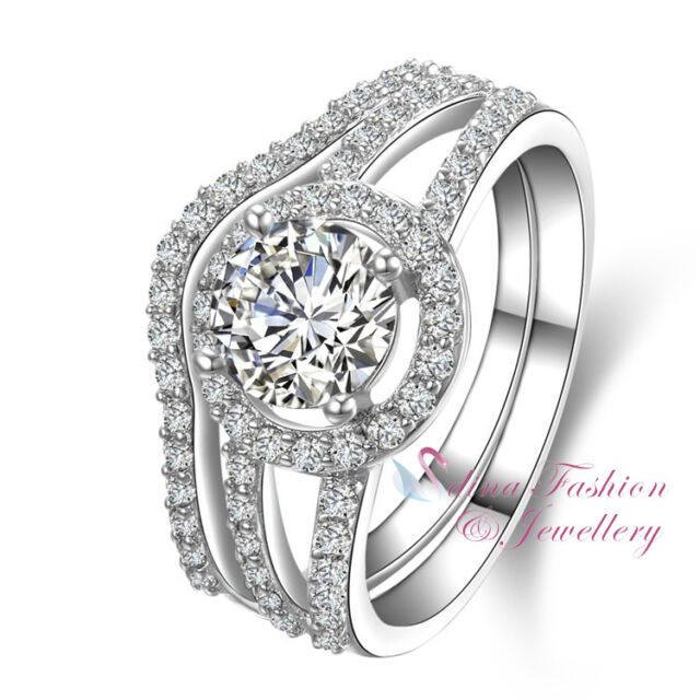 9b045297bbac Most Popular 925 Sterling Silver SONA Diamond 0.9 Ct Engagement Wedding Ring  Set