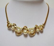 Vintage Coro 1940s pearl & baguette rhinestone choker necklace Pat Pend Retro
