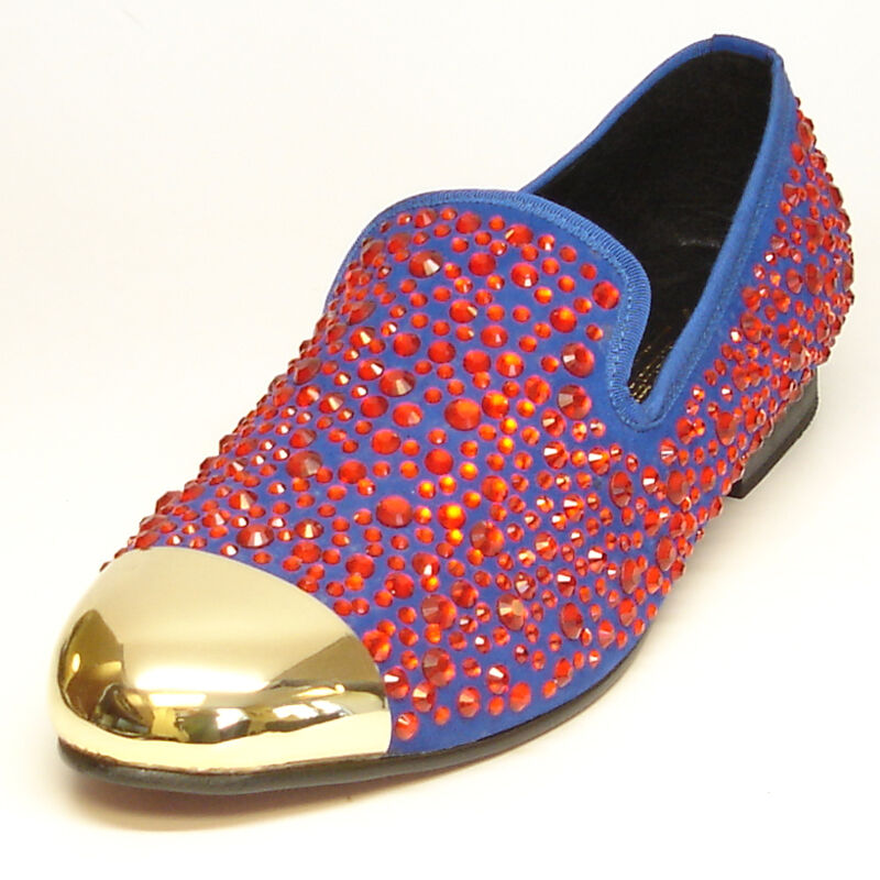 FI-6918 Blue with Red Rhinestones with Gold metal tip Loafer