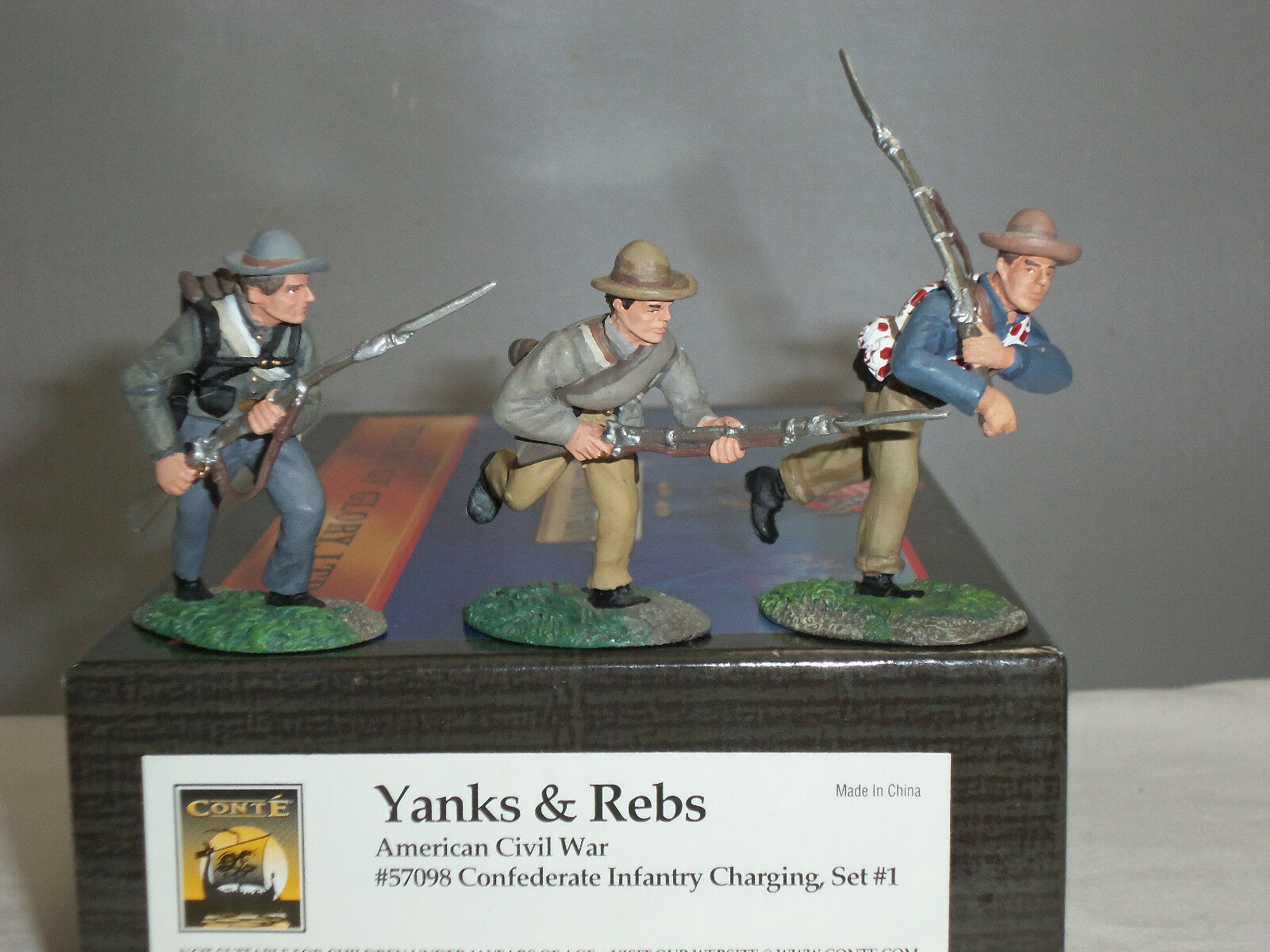 CONTE 57098 CONFEDERATE INFANTRY CHARGING AMERICAN CIVIL WAR TOY SOLDIER SET 1