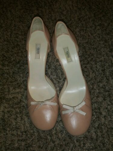 Prada Italy D'Orsay Heel Shoes Pale Pink Leather S