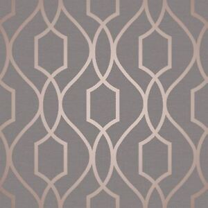 Image Is Loading Fine Decor Apex Geometric Trellis Pattern Wallpaper Charcoal