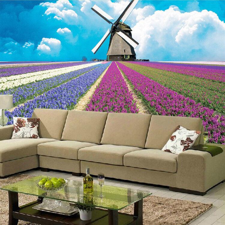 3D 3D 3D Windmühle Lavendelfeld 94  Tapete Wandgemälde Tapete Tapeten Bild Familie DE | Online einkaufen  | Verschiedene Arten Und Die Styles  | Modernes Design  875b97