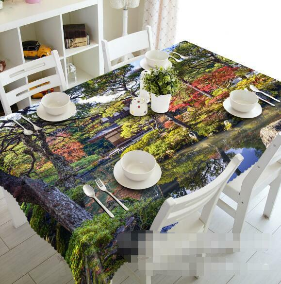 3D Trees Hut 4 Tablecloth Table Cover Cloth Birthday Party Event AJ WALLPAPER AU
