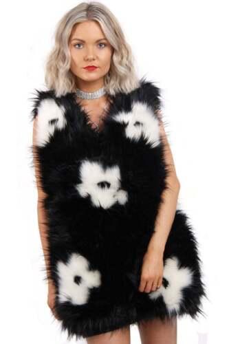 Femme chaud sans manches Outwear fleur en fausse fourrure sans manches Gilet Veste Manteau UK