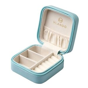 Blue Small Girls Travel Jewelry Box Organizer Display Storage Case