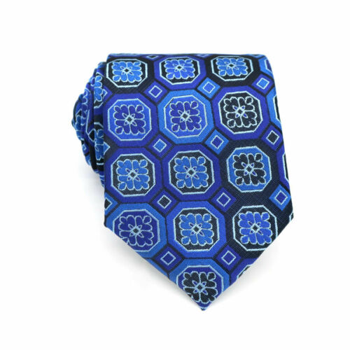 Classic Blue Mens Ties 8CM Silk Floral Neck Ties For Men Business Wedding Party