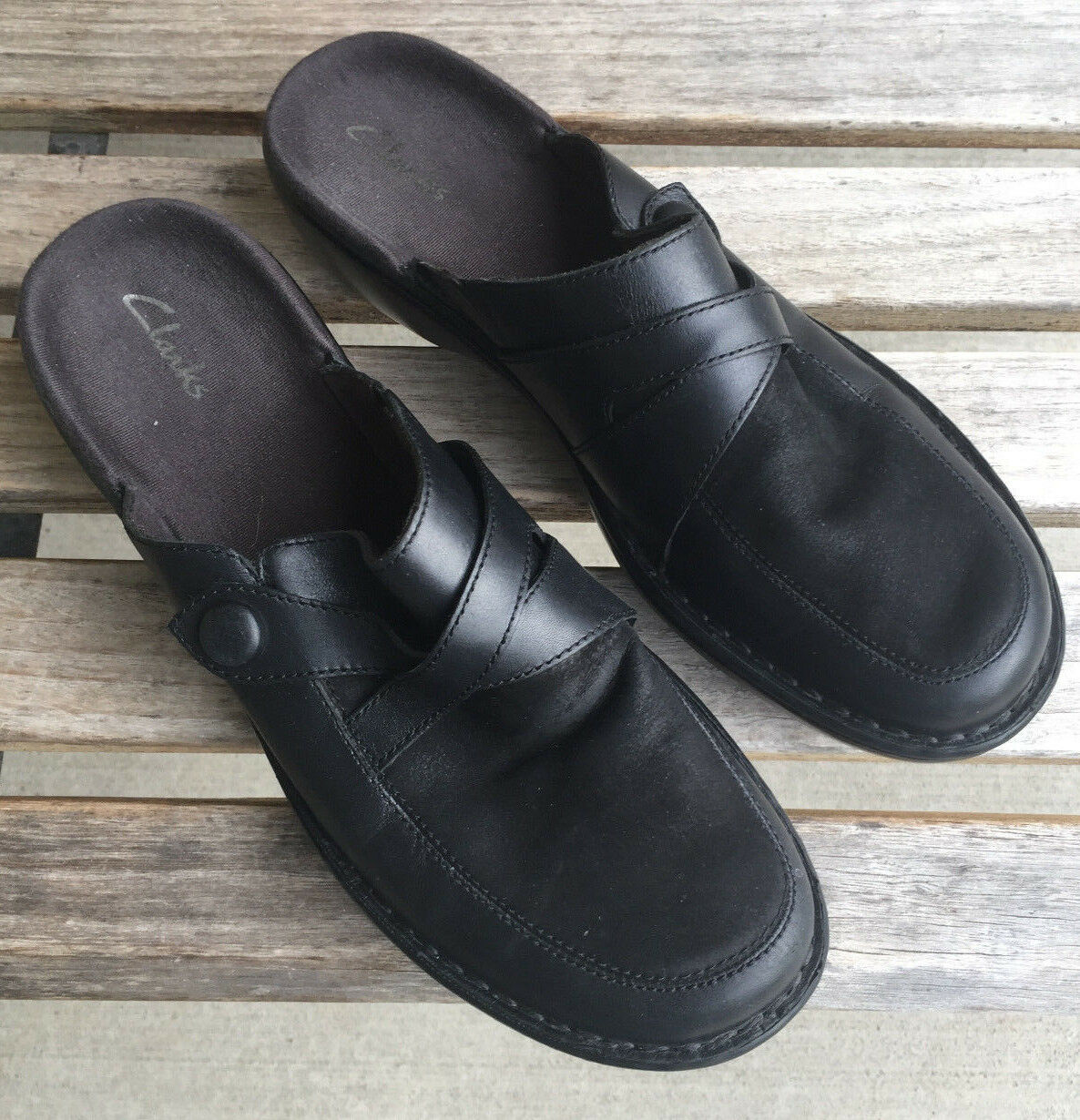 Clarks Women Black Leather/Suede Casual Slip On Closed Toe Casual Leather/Suede Mules US Size 9 M c53ece