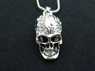 Skull Pendant Women Clear Austrian Crystal Necklace Silver Plated New