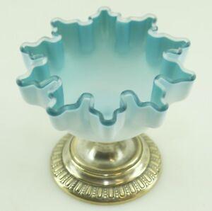 Antik-Jugendstil-Tafelaufsatz-Glas-Anbiet-Fuss-Schale-Wellenrand-Glas-Metall